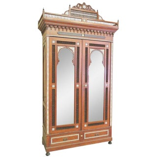 Moroccan Carved Inlaid Armoire For Sale