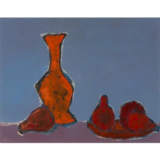 "Bill Tansey ""Vase & Fruit"" Abstract Still Life Oil on Canvas For Sale"