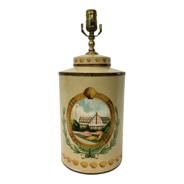 Tea Caddy Lamp With Hand Painted Hotel Landscape Design For Sale