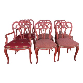 1980s Vintage Upholstered Red Dining Chairs- Set of 6 For Sale