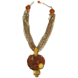 Philippe Ferrandis Agate, Glass, and Crystal Pendant Necklace For Sale