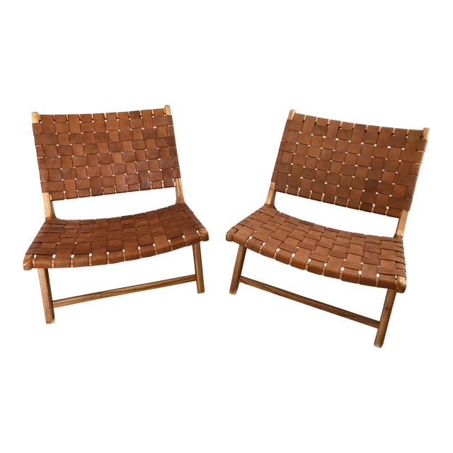 Woven Leather Lounge Chair For Sale