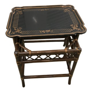 1980s Vintage Baker Furniture Chinoiserie Faux Bamboo Nesting Tray Tables - 3 Pieces For Sale