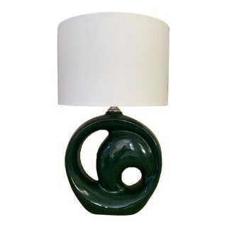 Vintage Sculptural Ceramic Round Lamp in Hunter Green with Shade For Sale