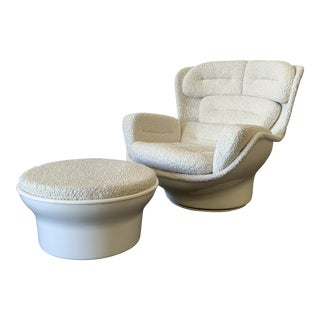 Michel Cadestin Karate X Joe Colombo Elda Chair 1970s Mashup With Ottoman - a Pair For Sale
