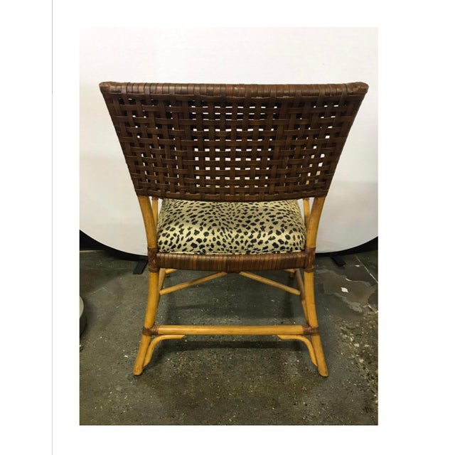 Hickory White Woven Leather and Bamboo Dining Chairs With Round Wood Table Set For Sale - Image 11 of 13