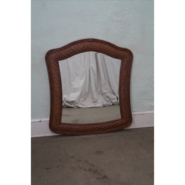 Lexington Tommy Bahama Rattan Frame Beveled Mirror For Sale - Image 4 of 10