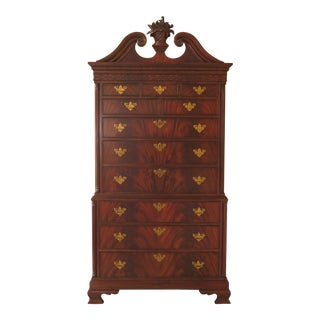 Chippendale Maitland Smith Monumental Size Mahogany High Chest For Sale