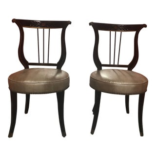 Antique Neo Classical Style Dining Chairs - a Pair For Sale