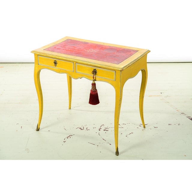 19th Century Venetian Beautiful Painted Petite Ladies Desk -Leather Top For Sale - Image 10 of 10
