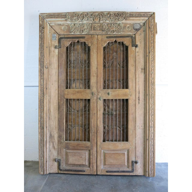 Antique Northern India Hand Carved Double Doors With Jamb - Image 5 of 10