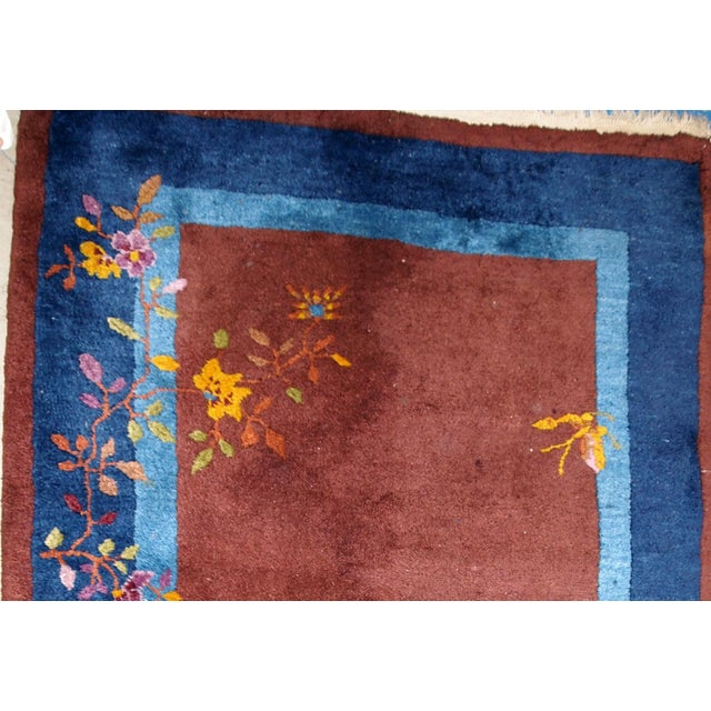 1920s Handmade Antique Art Deco Chinese Rug 3' X 4.11' For Sale In New York - Image 6 of 13