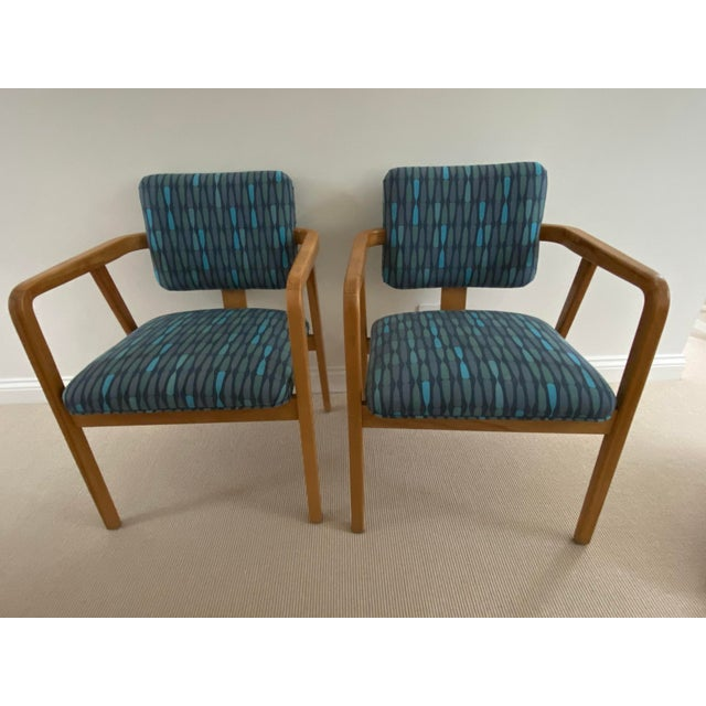 1950s Mid-Century Modern Walnut Upholstered Arm Chairs - a Pair For Sale - Image 10 of 13