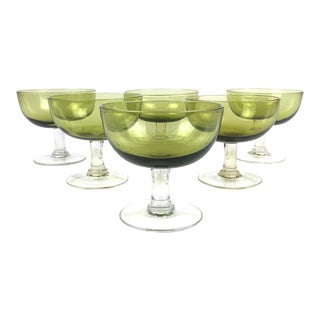 Vintage Green Coupe Cocktail Glasses – Set of 6