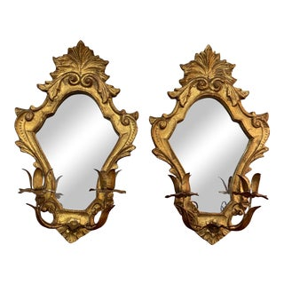 Early 20th Century Florentia Gilt Mirror Candleholder Wall Sconces - a Pair For Sale
