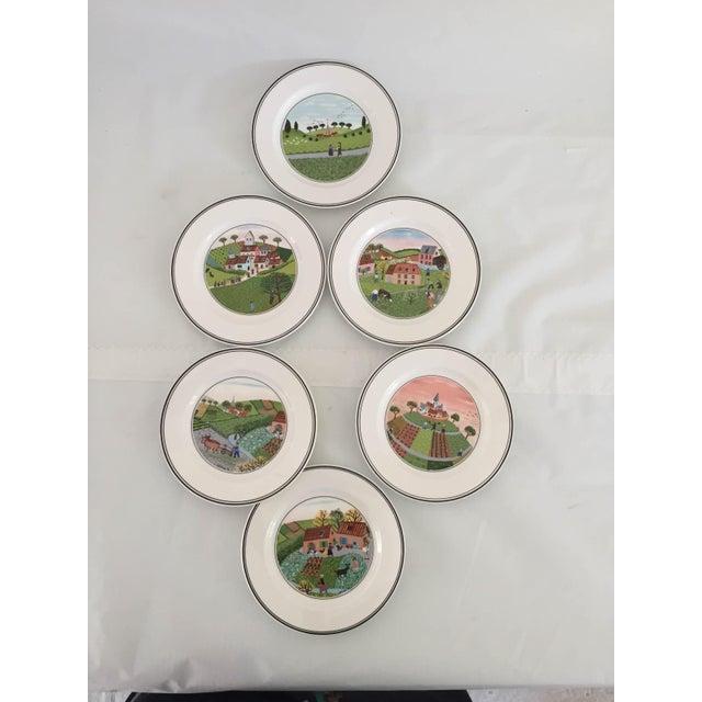 Villeroy & Boch Luxembourg Naif Village Decorative (assorted) Dessert/Bread Plates (6) Excellent