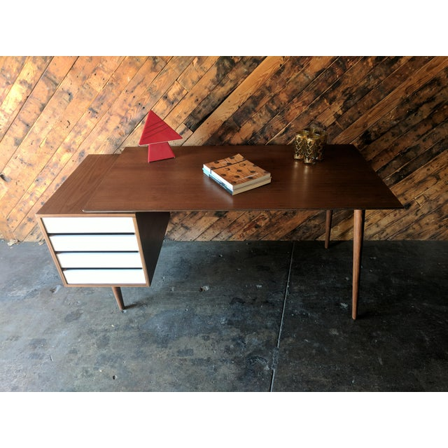 Custom Large Mid Century Style Walnut Desk For Sale - Image 10 of 11