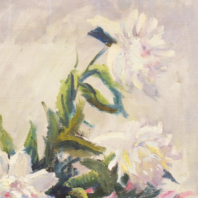 'Pink and White Dog Roses' by Dorothy Frants, 1960; Oil Still Life, Chicago Woman Artist For Sale - Image 4 of 8