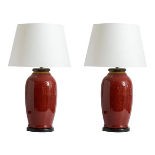 Chinese Early 19Th. C. Oxblood Vase Lamps, A-Pair For Sale