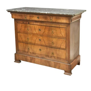 Antique French Louis Philippe Marble Top Walnut Commode For Sale