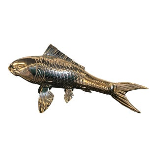 Vintage Polished Brass Koi Fish Statue For Sale