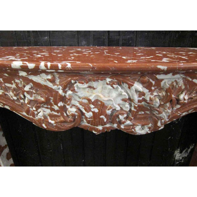 Contemporary Italian Mixed Red Gray & White Marble Mantle For Sale - Image 3 of 9