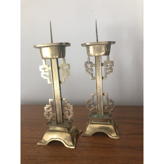 1970s Vintage Brass Chinoiserie Candle Holders - a Pair For Sale - Image 4 of 4