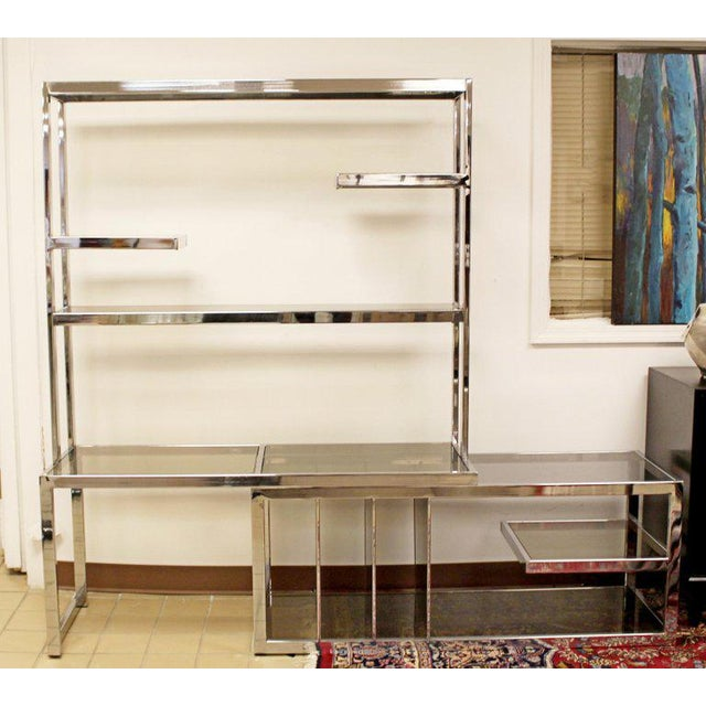 Silver Mid Century Modern Baughman Chrome Expandable Shelving Unit Etagere 1970s For Sale - Image 8 of 8