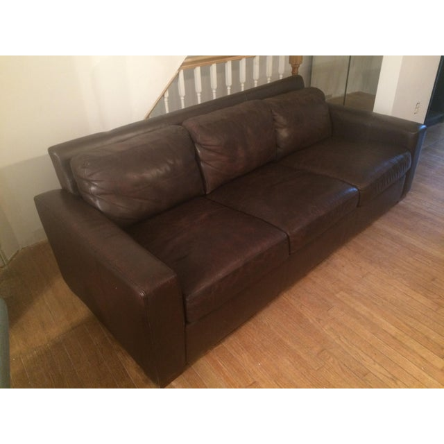 We are selling our 84 inch 3 section Portola dark brown Portola leather sofa which we purchased at Design Within Reach....