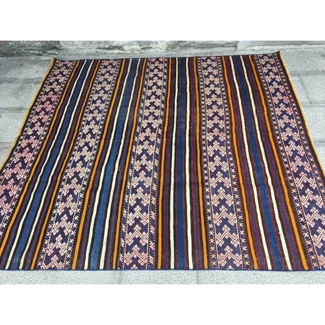Textile 1980s Turkish Anatolian Handmade Cecim Kilim Rug For Sale - Image 7 of 8