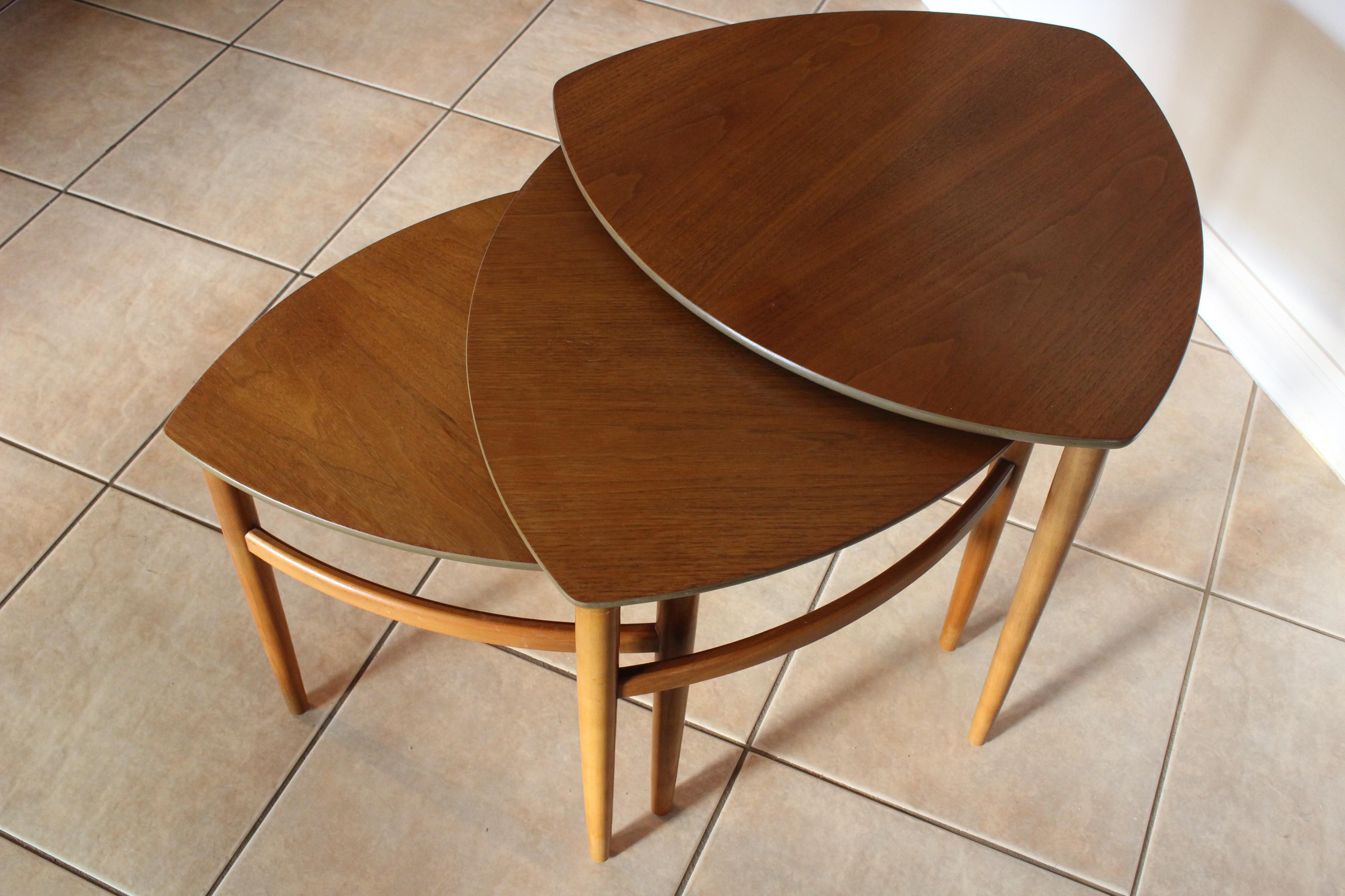 Morganton Mid Century Danish Nesting Tables   Set Of 3   Image 6 Of 11