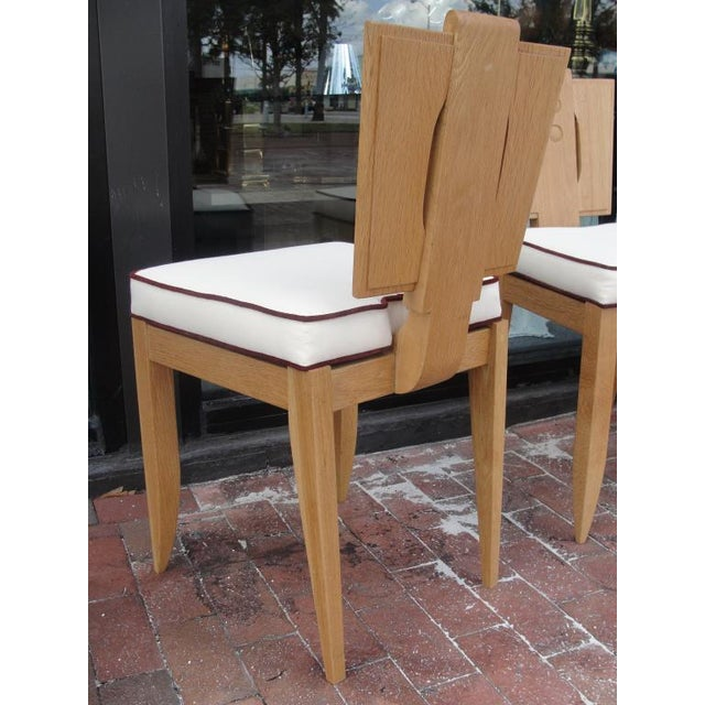 Set of 8 Natural Finish Oak Chairs in the Style of Francis Jourdain For Sale In Miami - Image 6 of 7