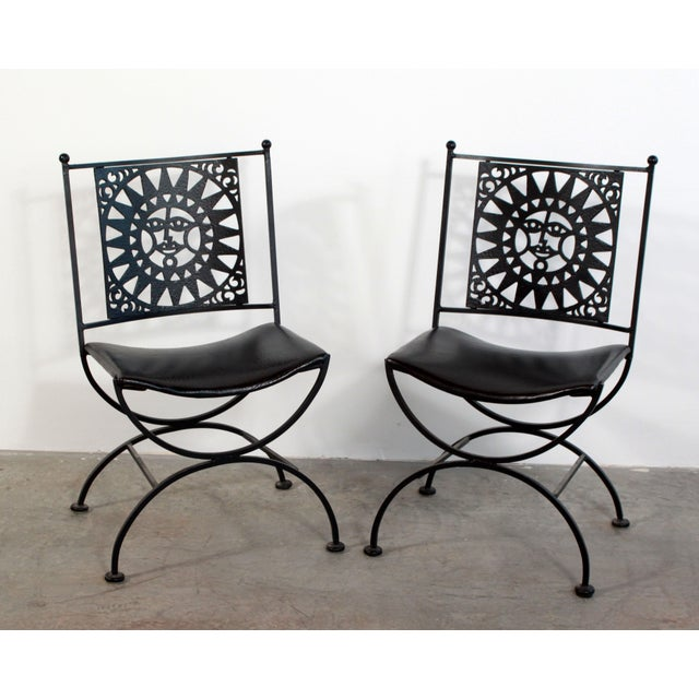 Beautiful pair of vintage mid century modern Arthur Umanoff for Shaver Howard wrought & cast iron chairs in his famous...