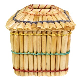 Vintage Hand Made Rattan Bamboo Tissue Box Cover For Sale