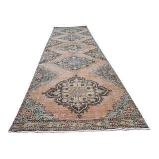 "Distressed Turkish Oushak Rug Runner 3'3"" X 10'11"" For Sale"