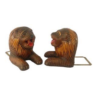 Vintage Woven Rattan Lion Head Bookends With Brass Detail For Sale