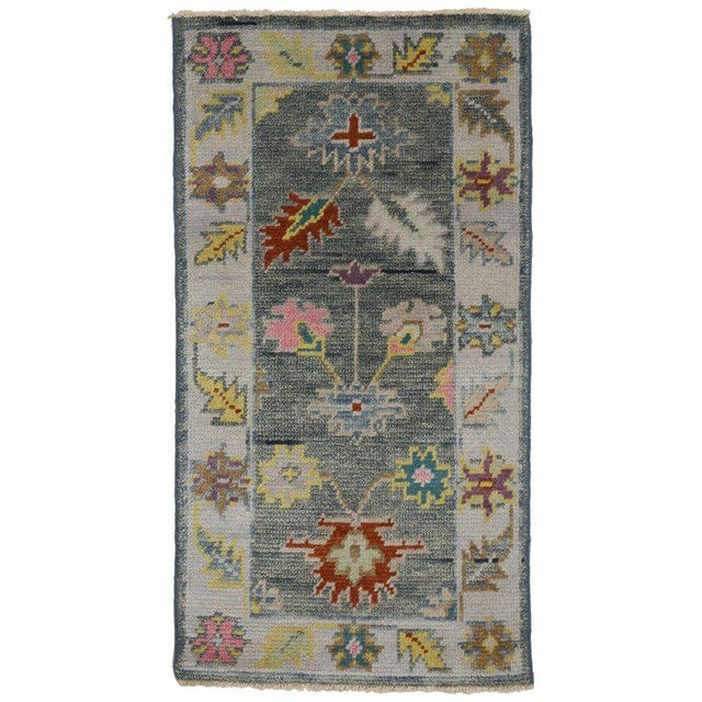 Contemporary Modern Colors Oushak Scatter Rug - 2′1″ × 3′11″ For Sale In Dallas - Image 6 of 6