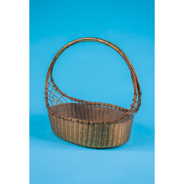 1960's Mid-Century Hand Woven Solid Brass Basket For Sale - Image 9 of 9