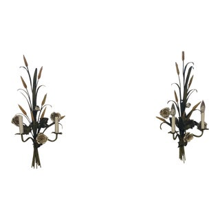 Italian Tole Painted Sconces - a Pair For Sale