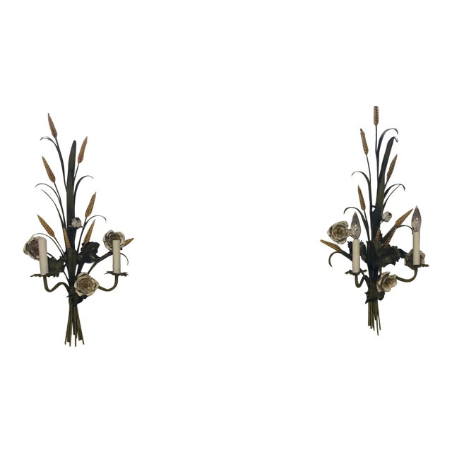 Pair of Italian Tole Painted Green Floral Sconces , Circa 1960's For Sale