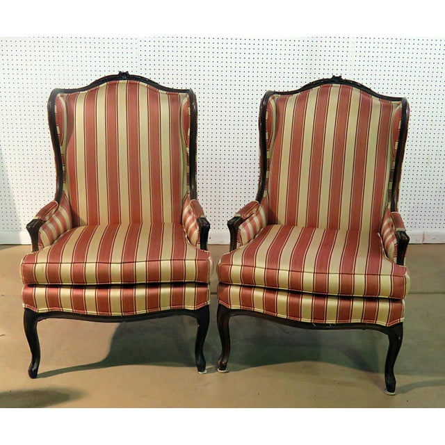 Louis XV Style Wingback Chairs - a Pair For Sale - Image 13 of 13