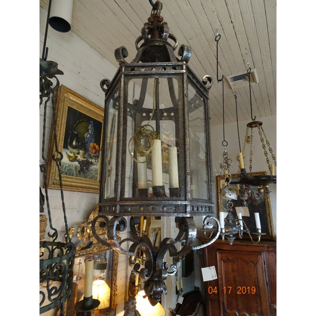 French Vintage Iron Lantern For Sale - Image 4 of 12