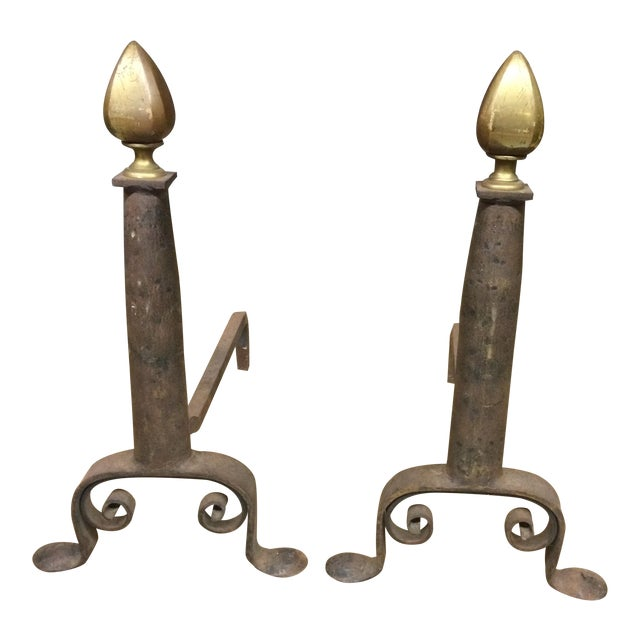 Vintage Brass and Iron Andirons - Pair - Image 1 of 7