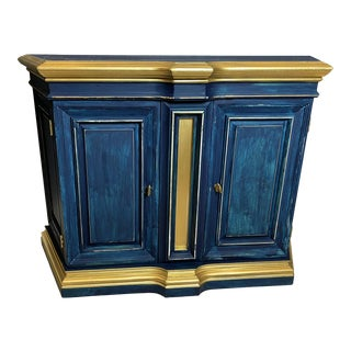 Navy Blue Two Doors Console Cabinet For Sale