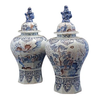 Large Pair of Delft Chinoiserie Decorated Covered Octagonal Baluster Jars For Sale