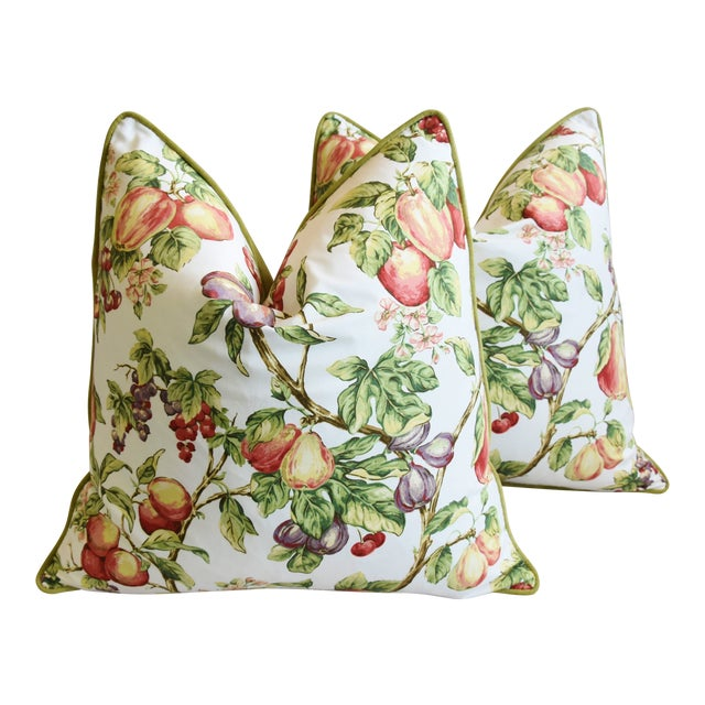 "P. Kaufmann Bountiful Fruit Feather/Down Pillows 24"" Square - Pair For Sale"