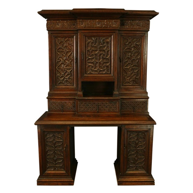 Heavily Carved Antique French Gothic Desk - Image 1 of 8
