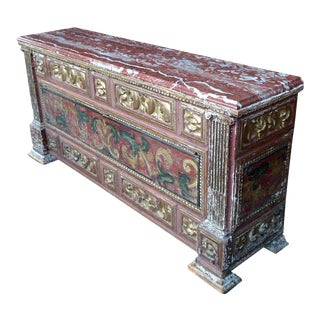 18th Century Spanish Baroque Painted Coffer with Marble Top For Sale