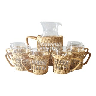 Vintage Wicker & Glass Serving Pitcher and Cups Set of 7 Mid Century Boho For Sale