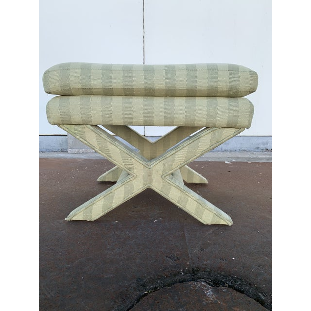 Green Parson's Chair With X -Base Ottoman For Sale - Image 8 of 11